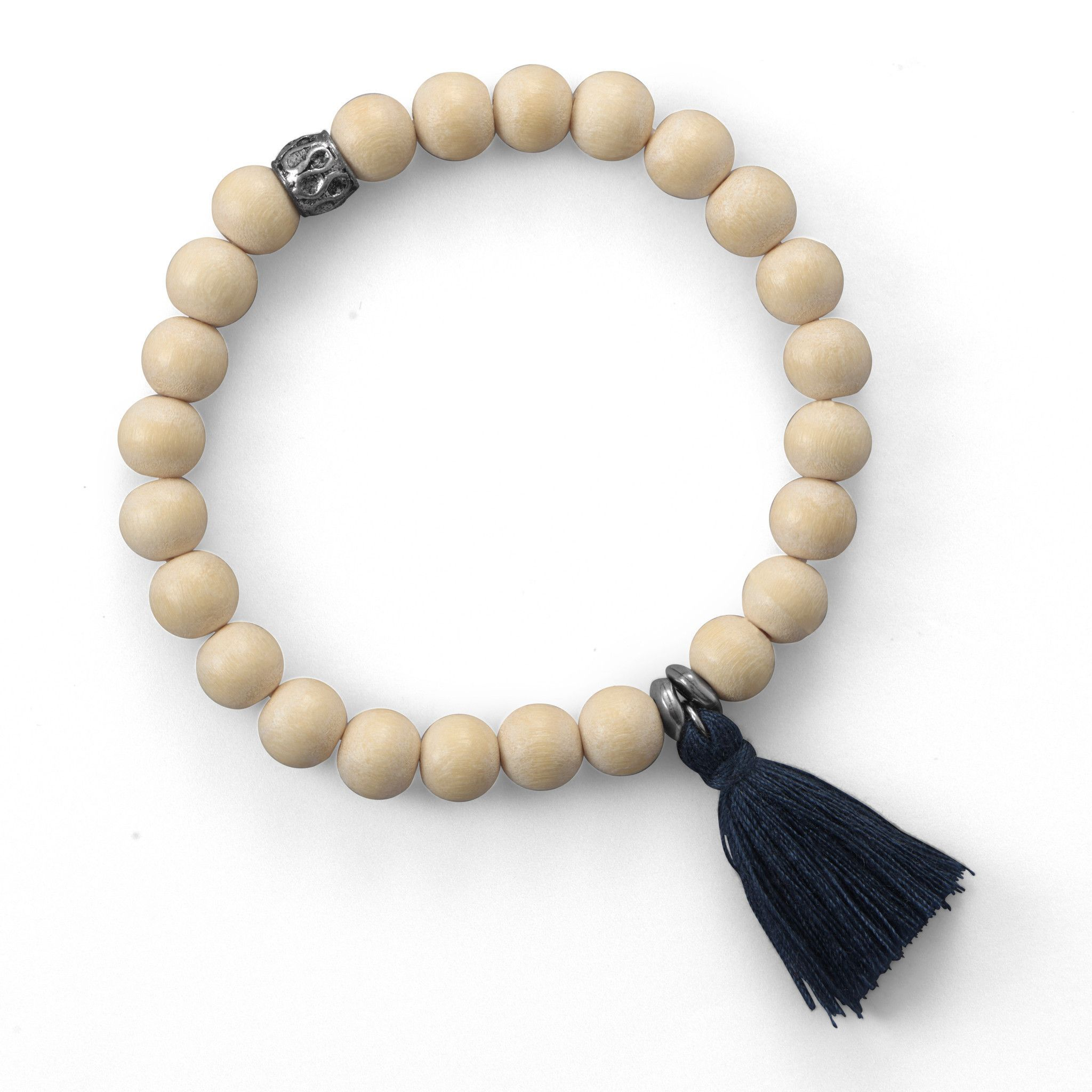 Light Wood Bead Fashion Bracelet with Dark Green Tassel