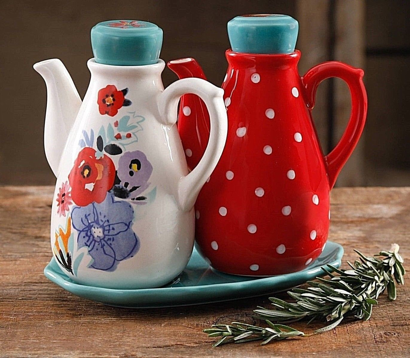 Pioneer Woman Flea Market 575 in Oil and Vinegar with Tray Set  NEW  eBayebay