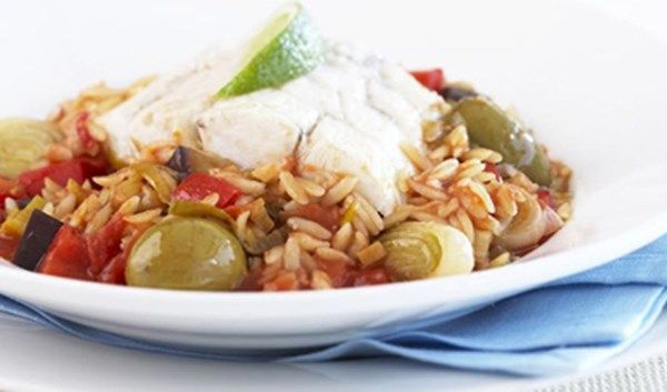 Easy 20 Minute Recipe   Fish with Caponata Risoni with Campbell's Real Stock