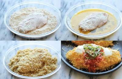 Pollo a la parmesana rebozado con quinoa