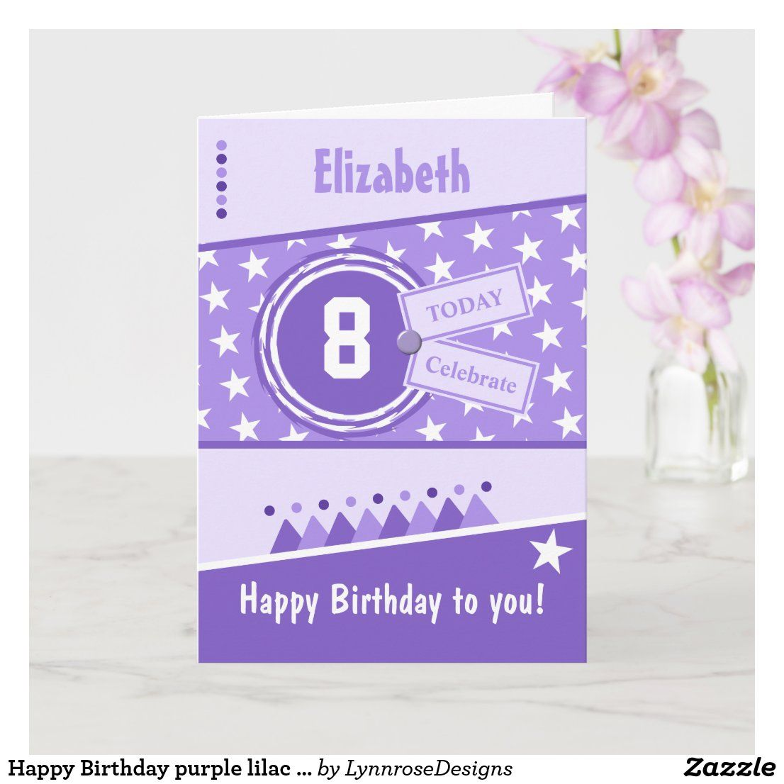 Happy Birthday Purple Lilac And White Any Age Name Card Zazzle Co Uk Kids Birthday Cards Birthday Greeting Cards Happy Birthday To You