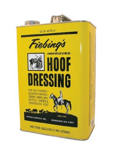 FIEBING HOOF DRESSING GL, OneColor, 1 GALLON by Fiebing Company Inc. $27.12. 1 GALLON. Since 1895 ranchers, breeders, stage operators and the U.S. Cavalry have relied on fiebing quality. Fiebing's hoof dressing is today as it was then, the professional horseman's standard for treating corns, quarter cracks, split hoofs and brittleness. Used regularly it also helps maintain healthy feet. Also improves hoof appearance, impairing a semi-gloss finish.. Save 31%!