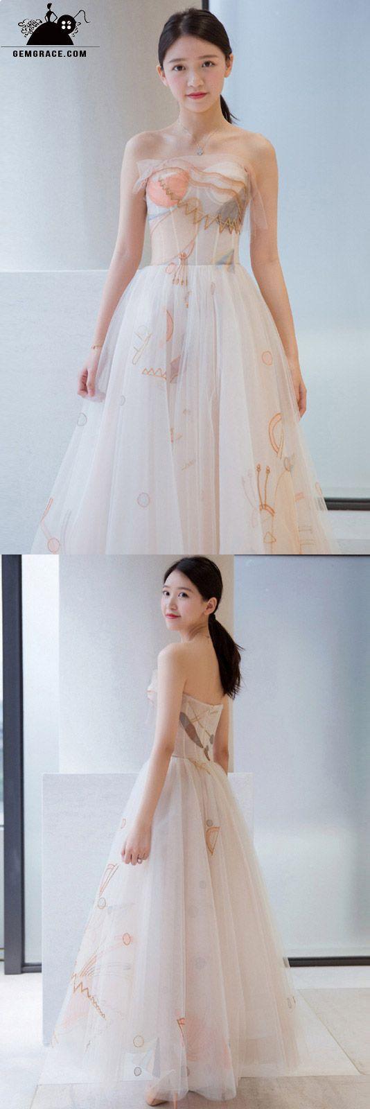 Special printed strapless boho wedding dress bohoinspired wedding