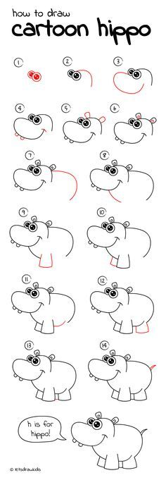 how to draw cartoon hippo easy drawing step by step perfect for