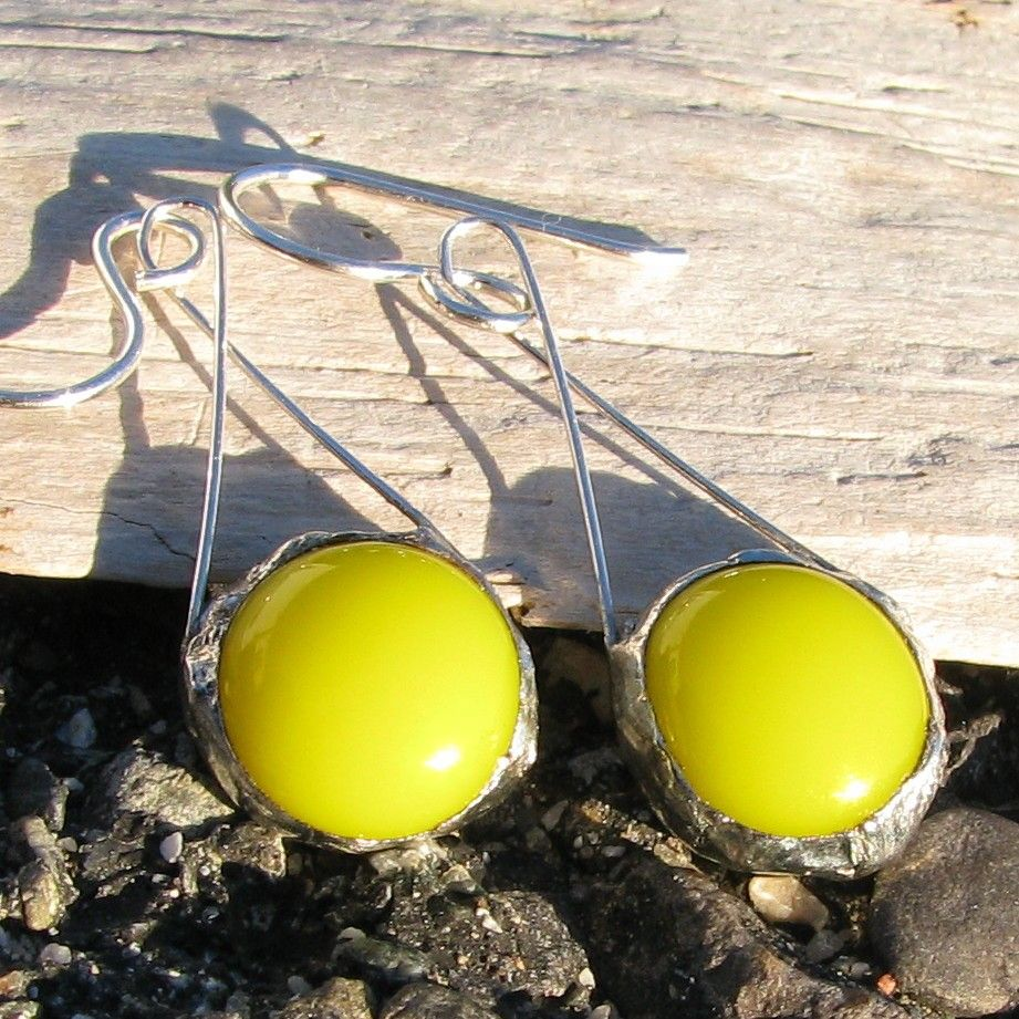 Sunshine Yellow and Silver Earrings.