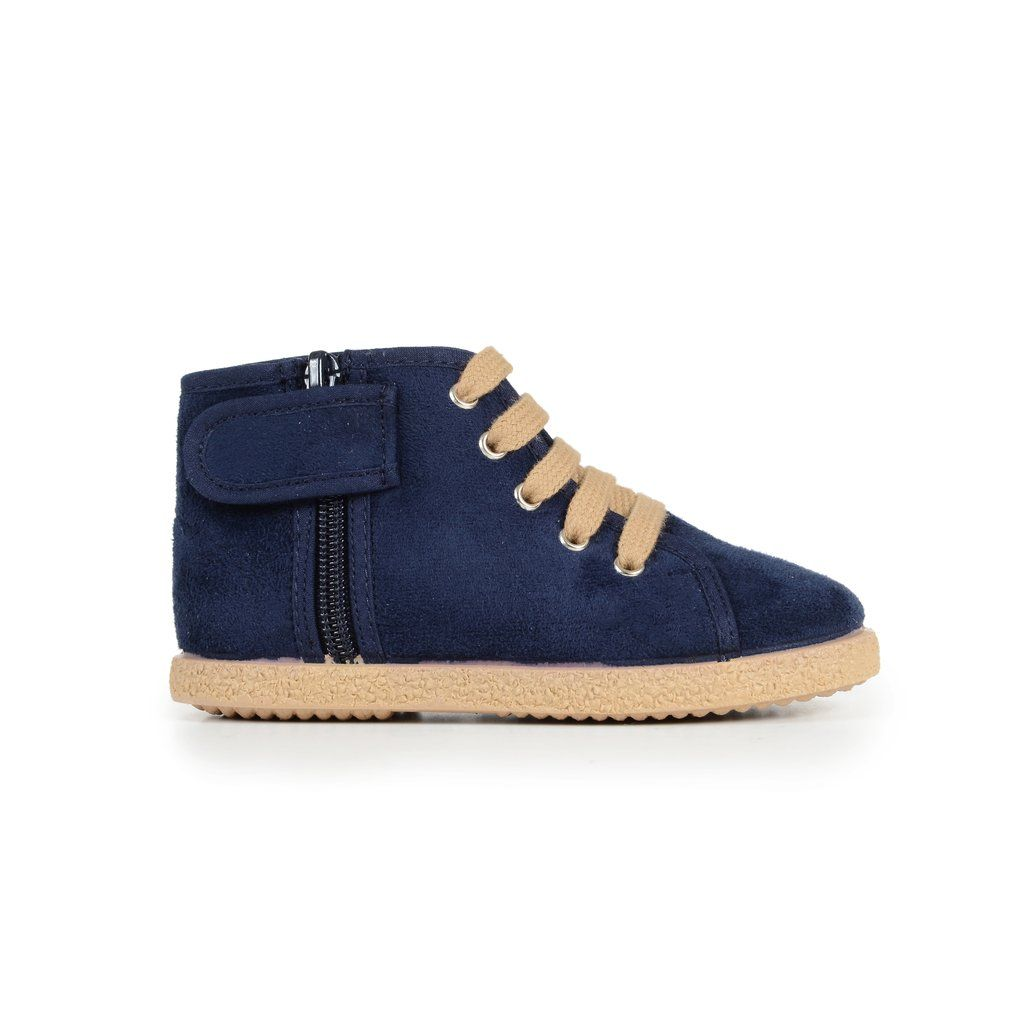 6b8e5e7250a Unisex Navy Suede Lace-Up McAlister Booties with Zipper