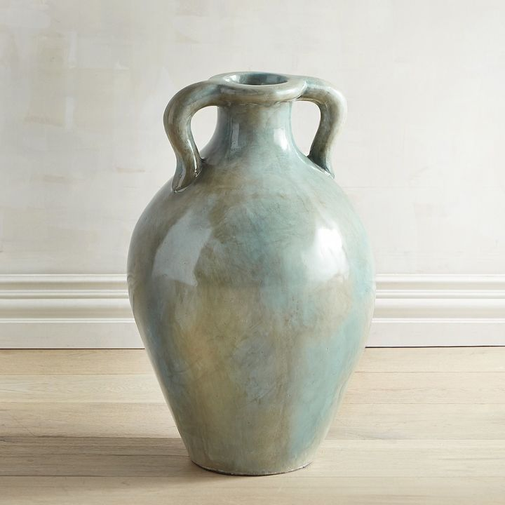 Pier 1 Imports Blue Marbled Terracotta Floor Vase Products