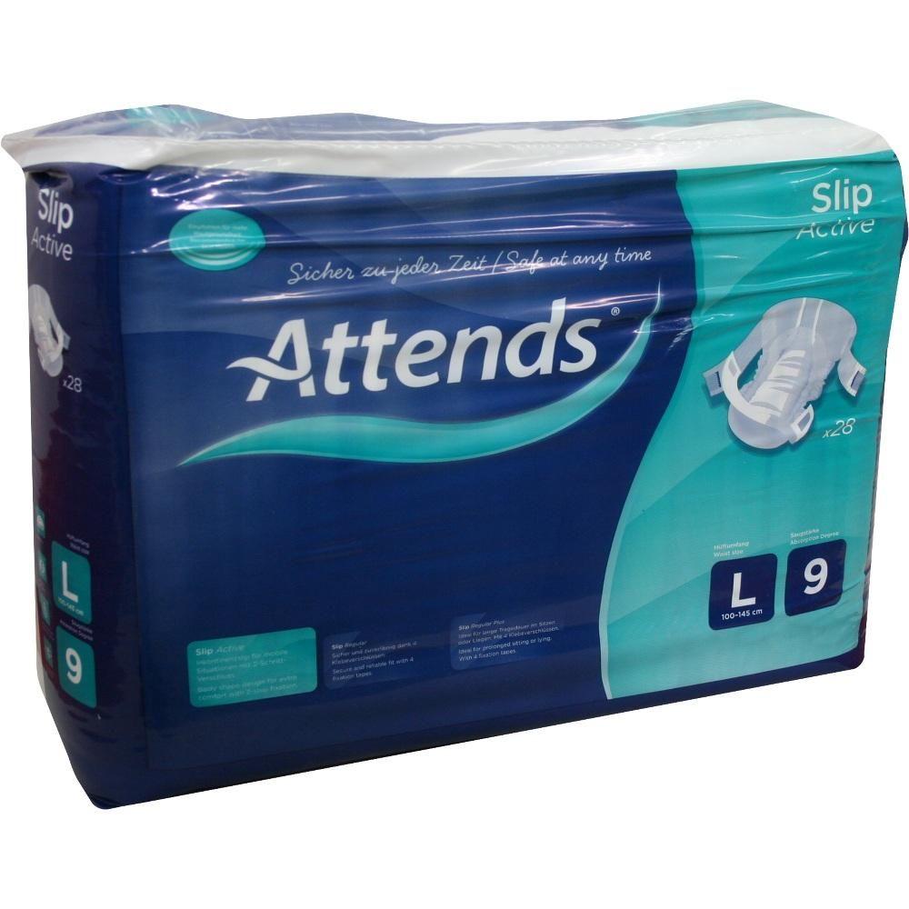 ATTENDS Slip Active 9 large:   Packungsinhalt: 28 St PZN: 02553996 Hersteller: Attends GmbH Preis: 23,24 EUR inkl. 19 % MwSt. zzgl.…