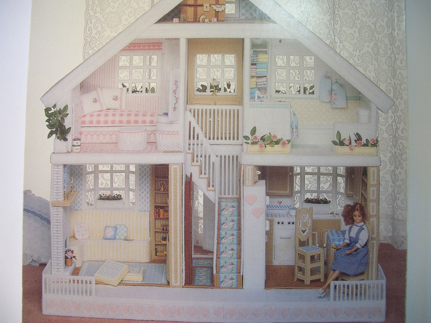 Free NFL Plastic Canvas Patterns   Fashion Doll House in Plastic Canvas  Pattern Book by AnneN. Free NFL Plastic Canvas Patterns   Fashion Doll House in Plastic