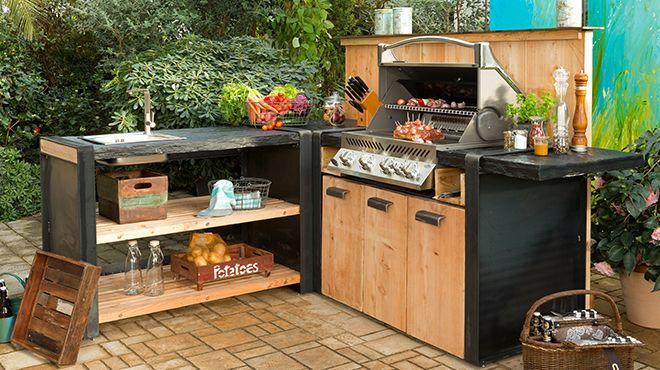 die outdoorküche - eckvariante stone-line es   garten   pinterest