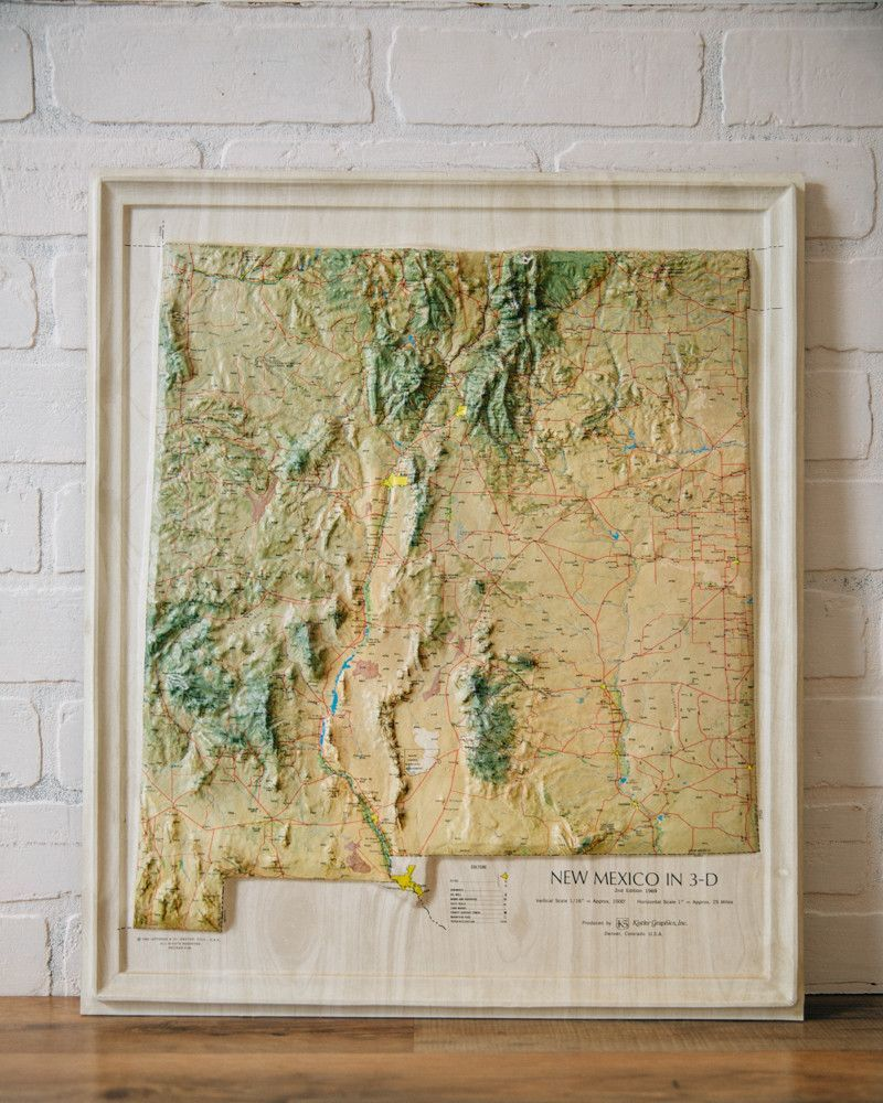Vintage Topographic Map Of New Mexico Topographic Map - New mexico elevation map