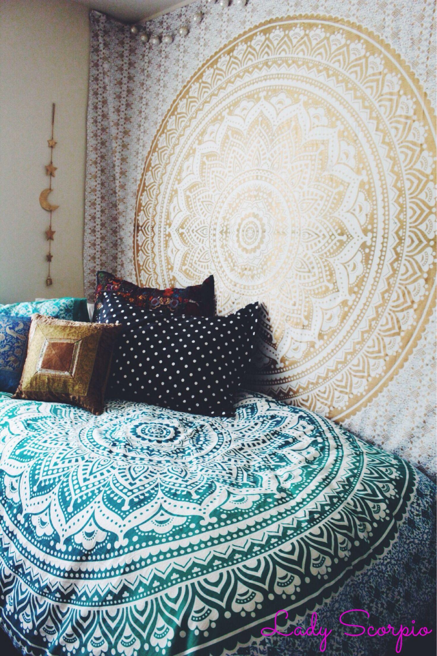 Lady Scorpio Bedroom. Turquoise & Gold Hippy Trippy Duvet & Mandala Tapestry