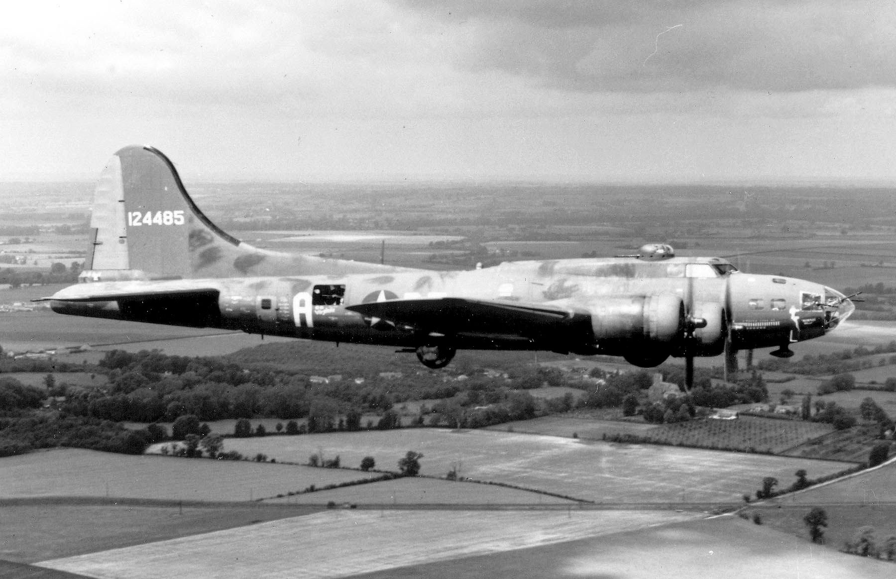 "The B-17 Flying Fortress ""The Memphis Belle"" is shown on her way back to the United States June 9, 1943, after successfully completing 25 missions from an airbase in England. Source: USAF. Historic Wings has more on the Memphis Belle."