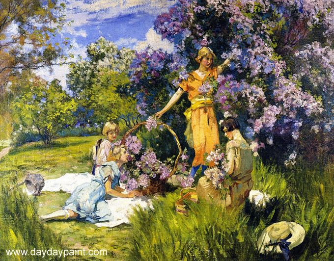 flower flower garden paintings lilacs - Flower Garden Paintings