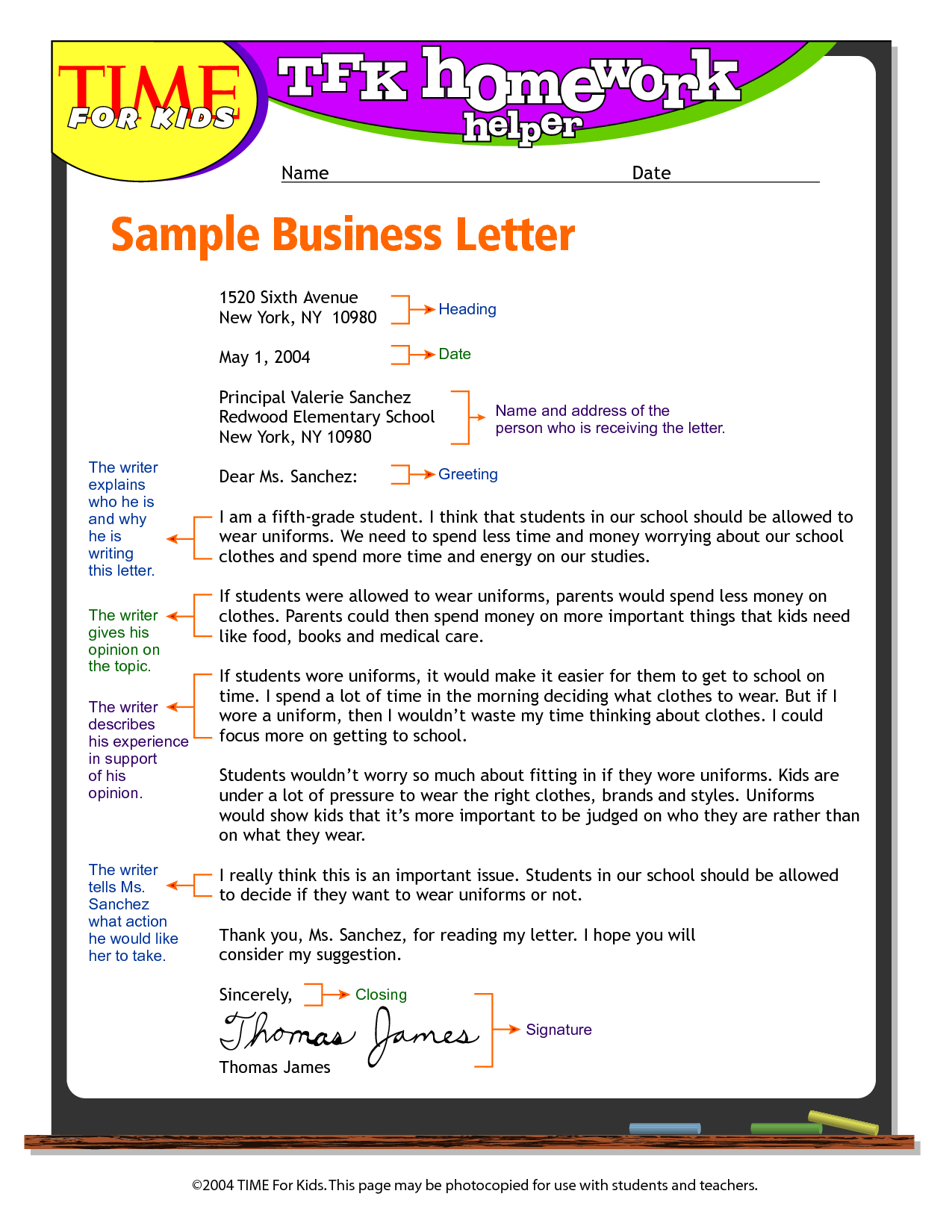 Whats Cover Letter Exandle Business Letter Format For Kids Write Business Letter
