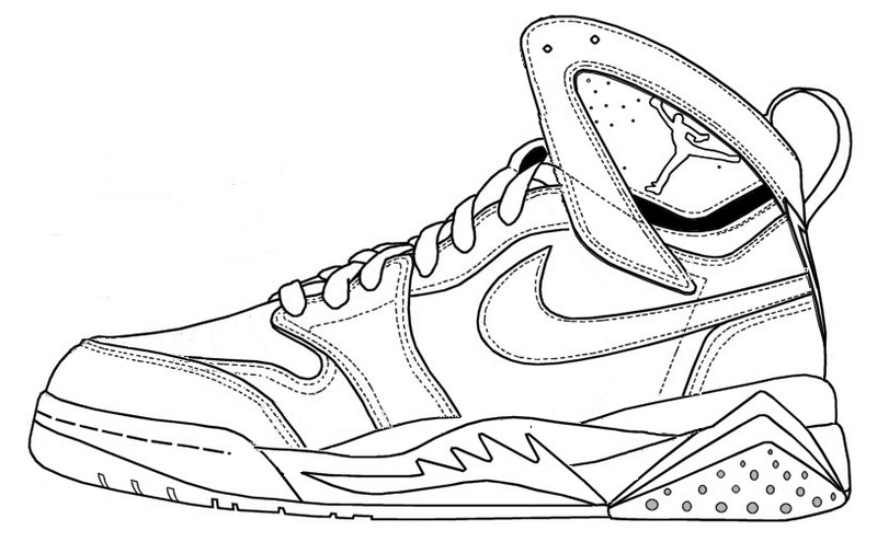 Nike Air Jordan Coloring Page Shoes | shoes coloring page ...