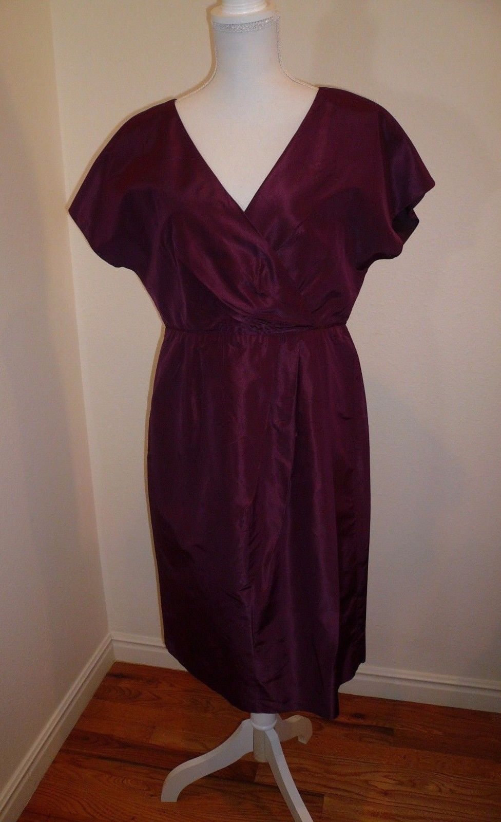 Cool great j crew lexa burgundy silk taffeta dress size vneck