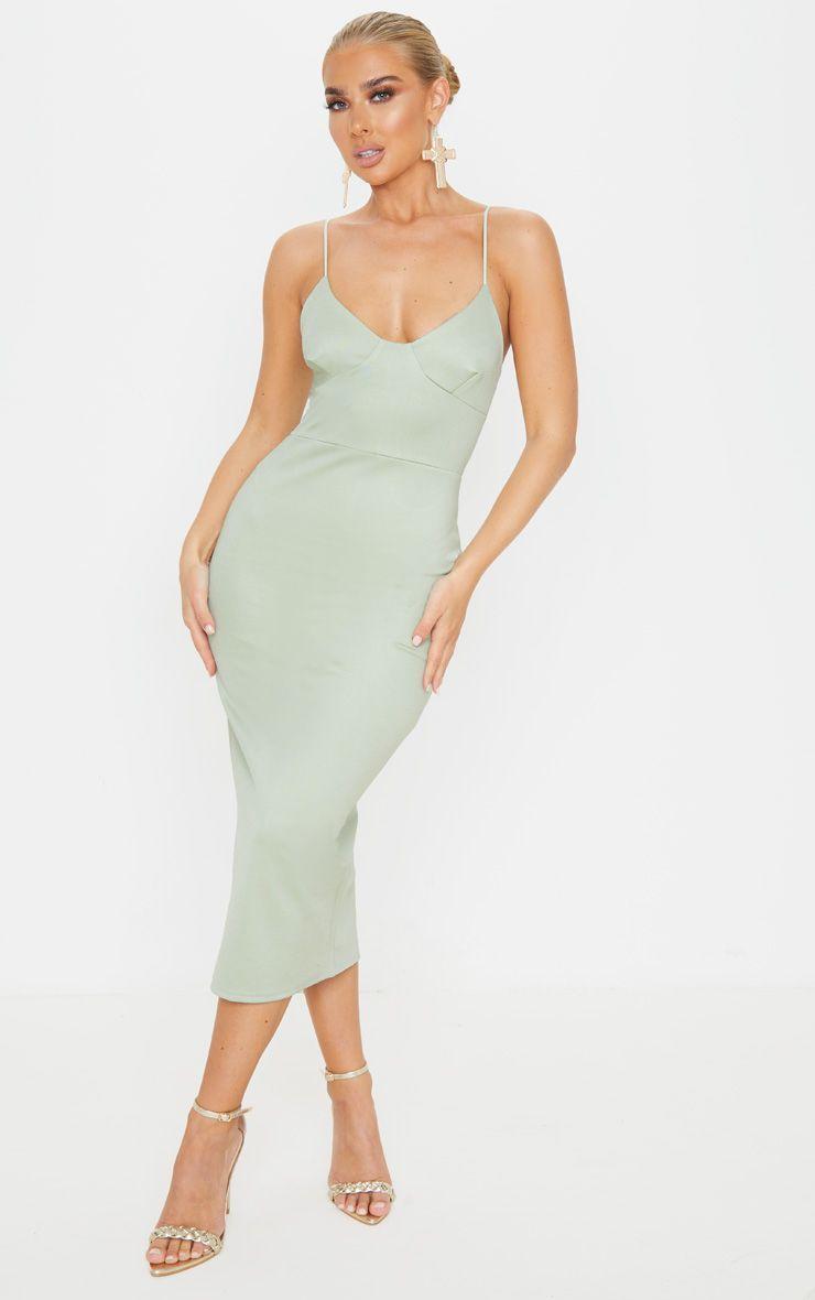 Sage Khaki Cup Detail Strappy Midi Dress Strappy Midi Dress Midi Dress Shopping Womens Dresses [ 1180 x 740 Pixel ]