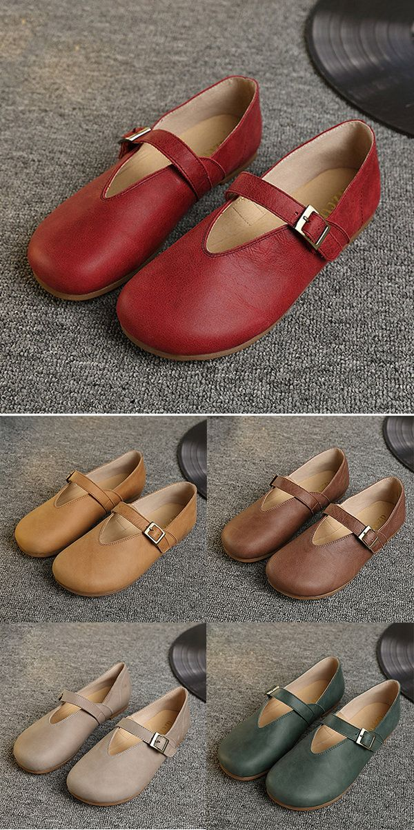 ffb245bb39f4f US$40.89 Socofy Hollow Out Buckle Leather Soft Flat Casual Slip On Loafers