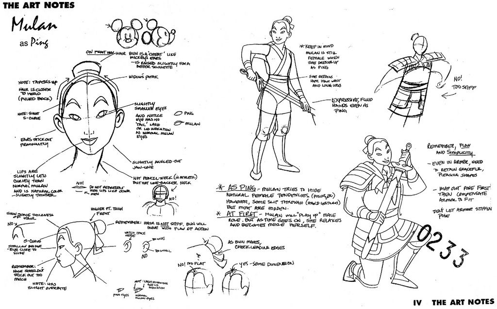 Character Design Profile : Concept art and profile sketches of mulan as ping from