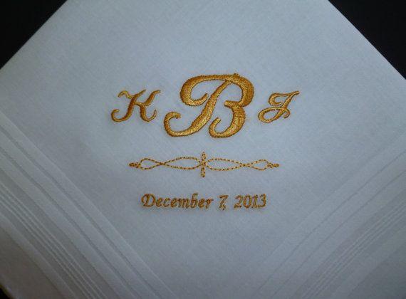 Custom Embroidered MANS Wedding Monogrammed Handkerchief Keepsake Gift