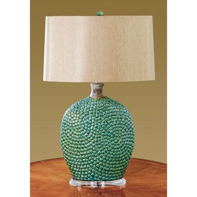 Beautiful Image Detail For  This Unique Table Lamp Has An Antiqued Turquoise Ceramic  Body That .