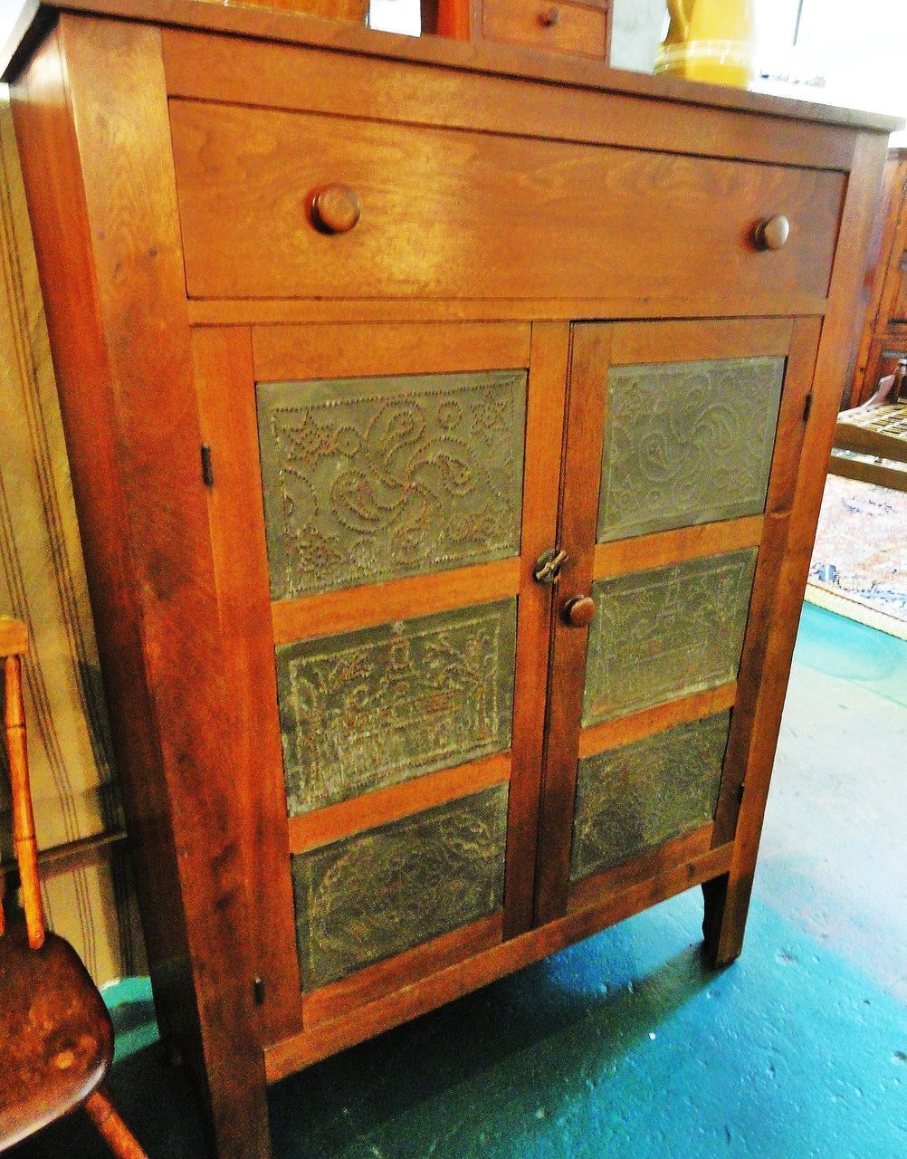 Circa 1830 Pa Walnut Pie Safe With One Hand Dovetailed Drawer Over Two Doors The Pie Safe Features 3 Pairs Of Tin Punch Pie Safe Shaker Furniture Shaker Style