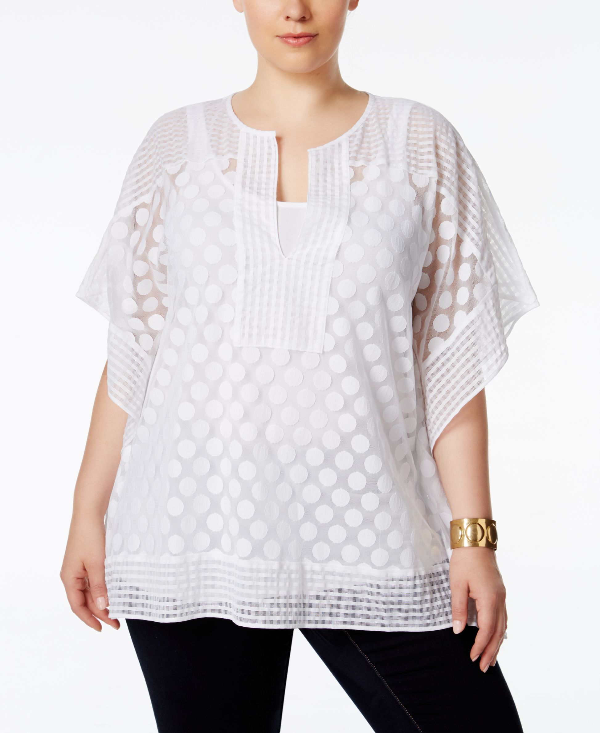 be6678186d874 Alfani Plus Size Dotted-Lace Overlay Top