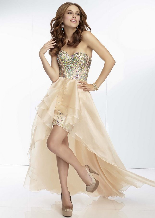 Images of Long Gold Strapless Prom Dress - Reikian