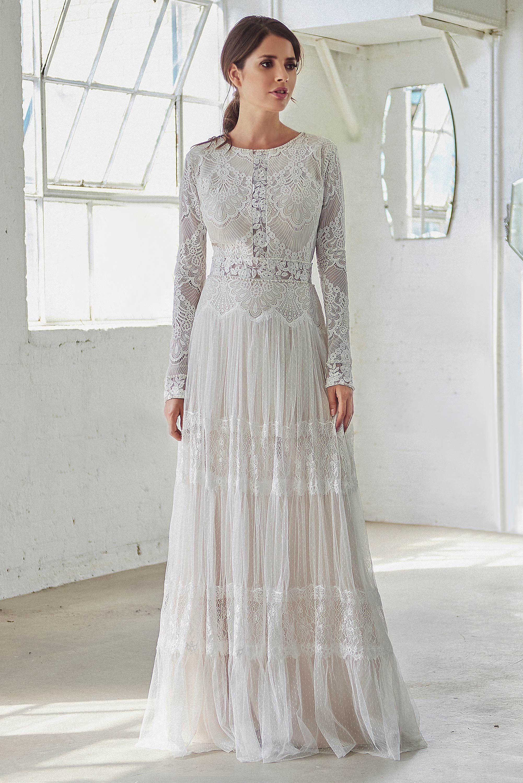 Vintage Boho Wedding Dress With Long Sleeves High Neck Wedding