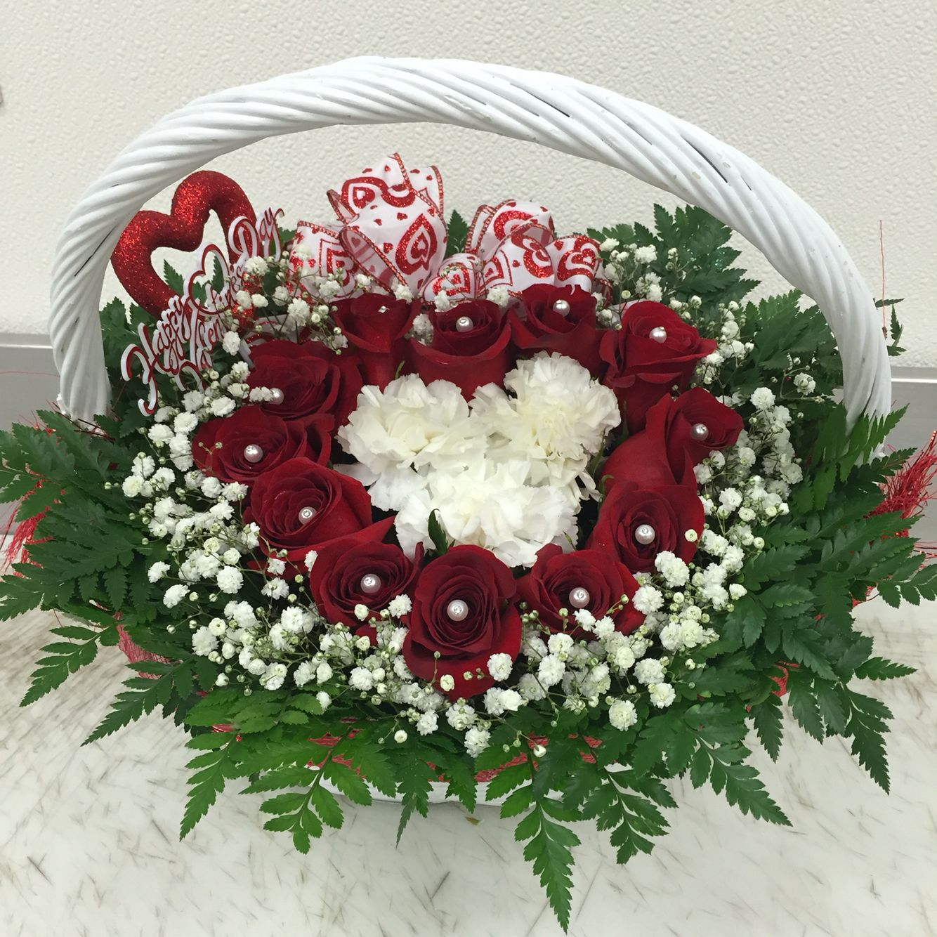 Heart shaped rose basket floral arrangement with babys breath heart shaped rose basket floral arrangement with babys breath izmirmasajfo