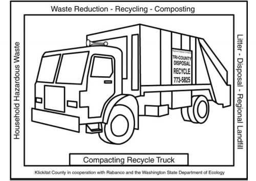 Coloring Page Compacting Recycle Truck Party Garbage Truck