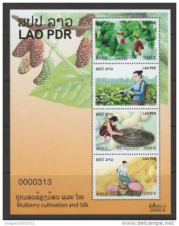 Laos 2013 El cultivo de la mora y seda edición limitada Calados y Imperfed S / S MNH