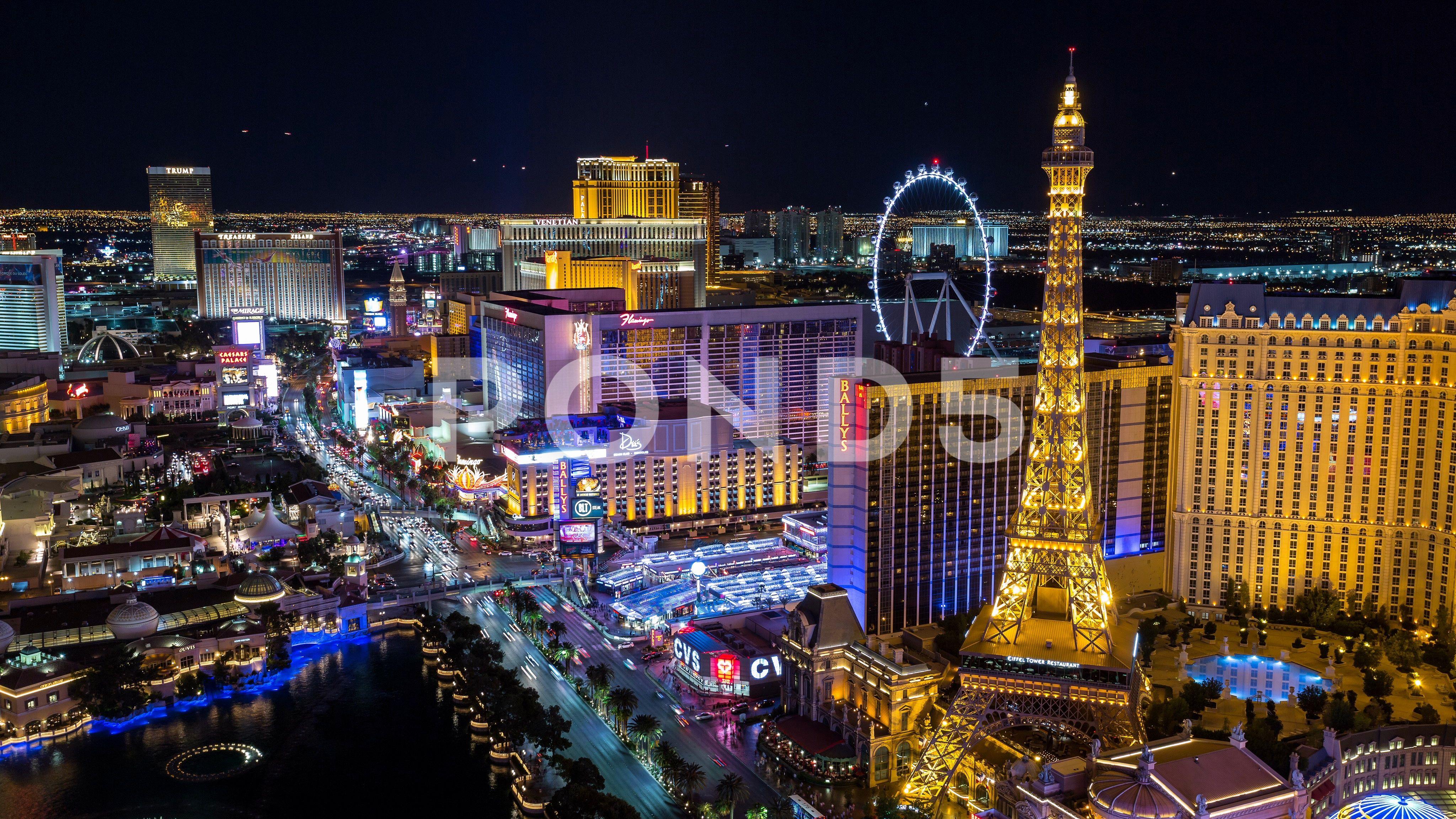 Las Vegas Nevada City Skyline Aerial Tilting Reveal Night