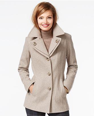 London Fog Petite Layered-Collar Peacoat - Coats - Women - Macy's ...