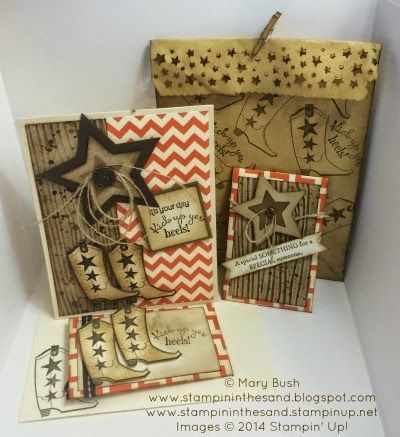Stampin Up Bootiful Occasions card and gift pack. Cowboy boots. Crafts.