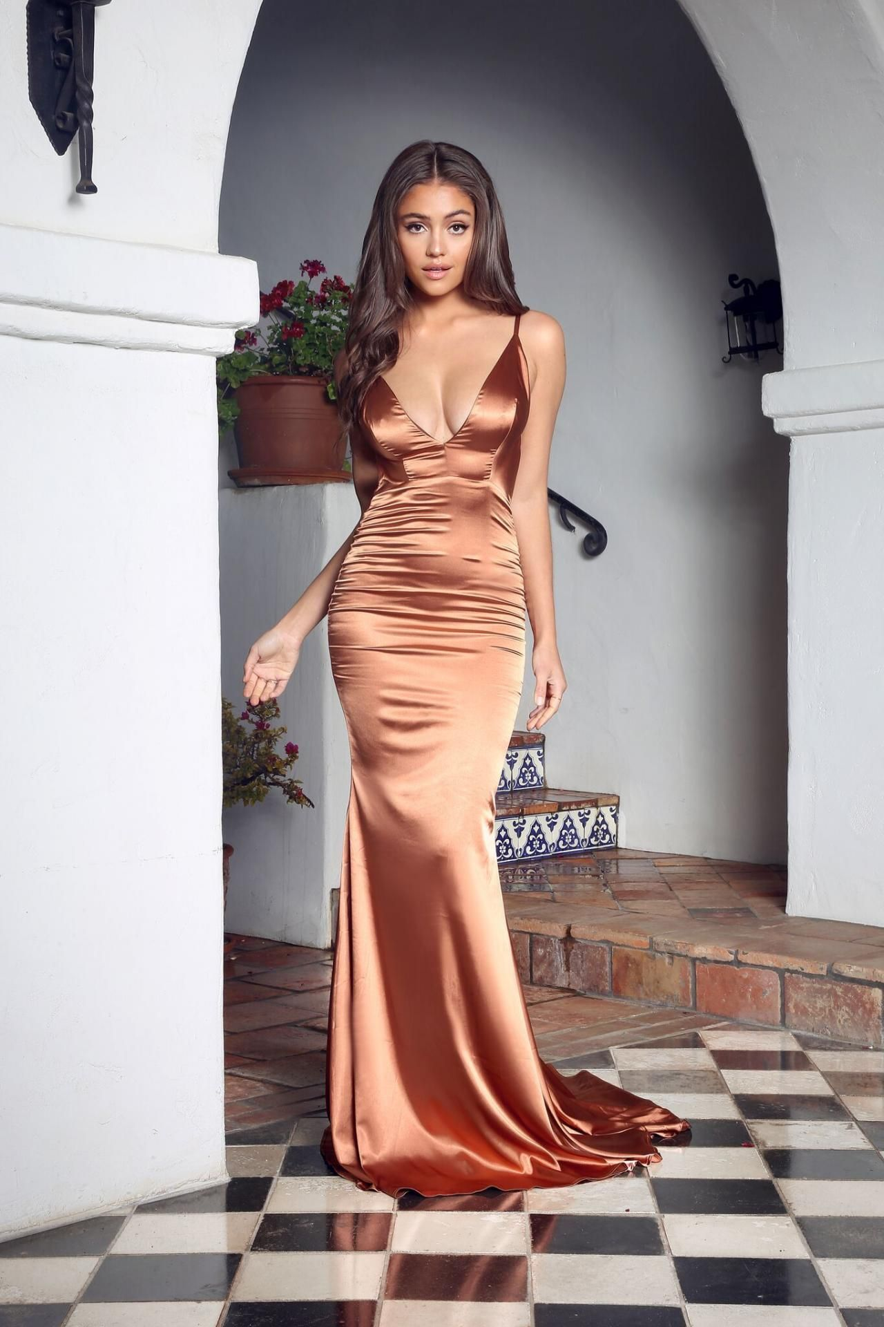 Pleated v neckline silk like satin mermaid long prom dress sexy