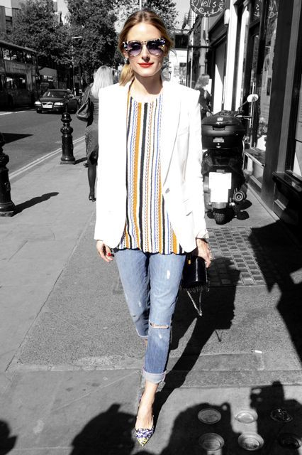 What Olivia Palermo Wears To A Garden Party #refinery29 http://www.refinery29.com/2015/05/87877/olivia-palermo-striped-top-outfit