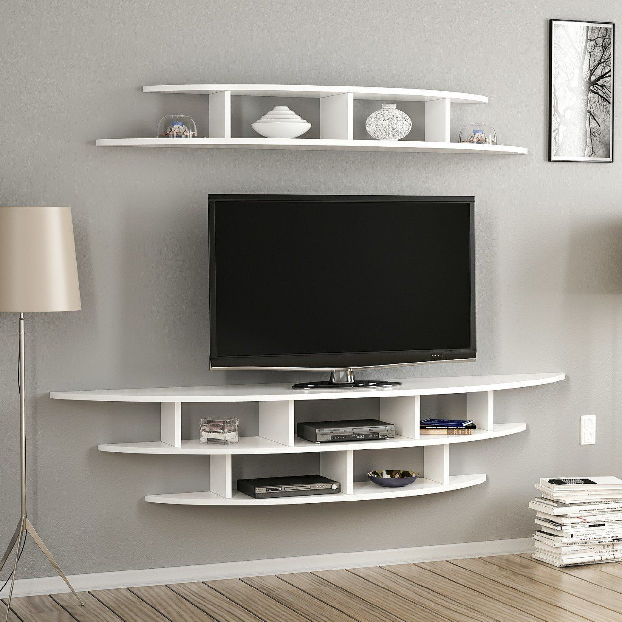 White Wall Mounted Tv Unit White Television Stand Wall Mounted Wooden Tv Unit White Tv Hol In 2021 Living Room Tv Unit Designs Wall Mounted Tv Unit Living Room Tv Wall