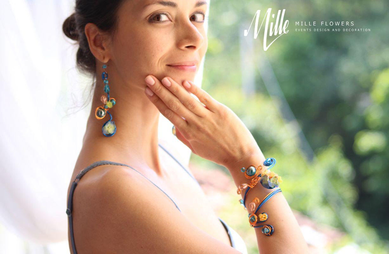 Flower earrings and bracelet
