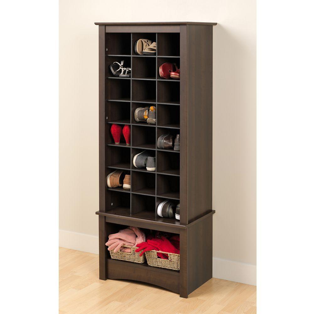 Espresso Tall Shoe Cubbie Cabinet Espresso Tall