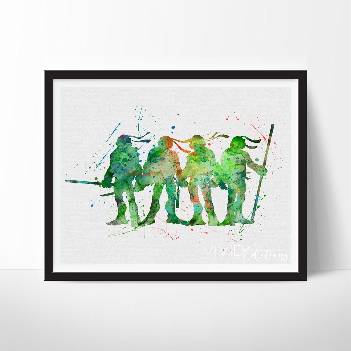 Teenage mutant ninja turtles watercolor art print teenage mutant