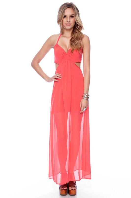 Coral maxi dress.