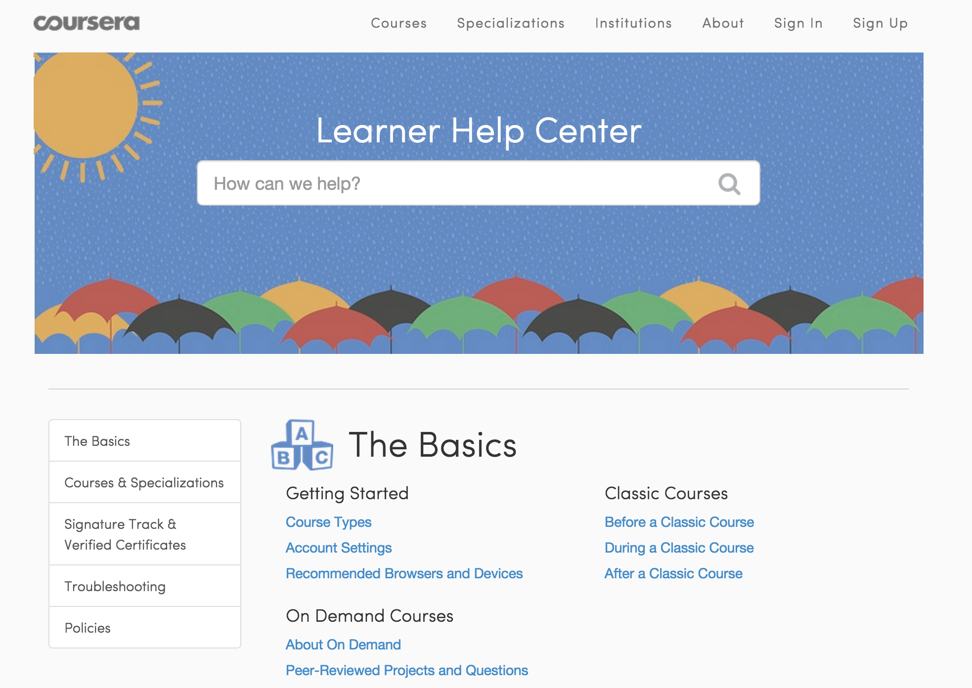 Learning is easy with the bright Coursera Help Center