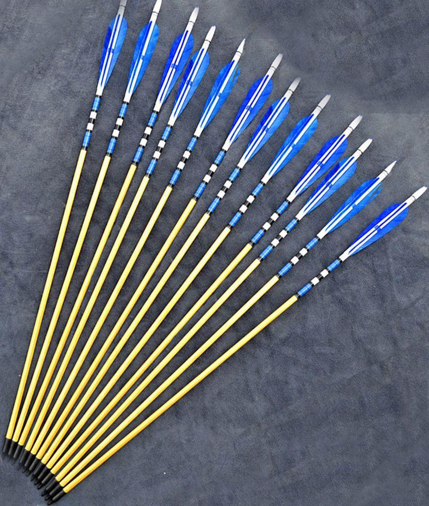 "6pcs 30/"" Archery 8.7mm Handmade Wood Arrows Blue Turkeys Feathers F 20-70lbs Bow"