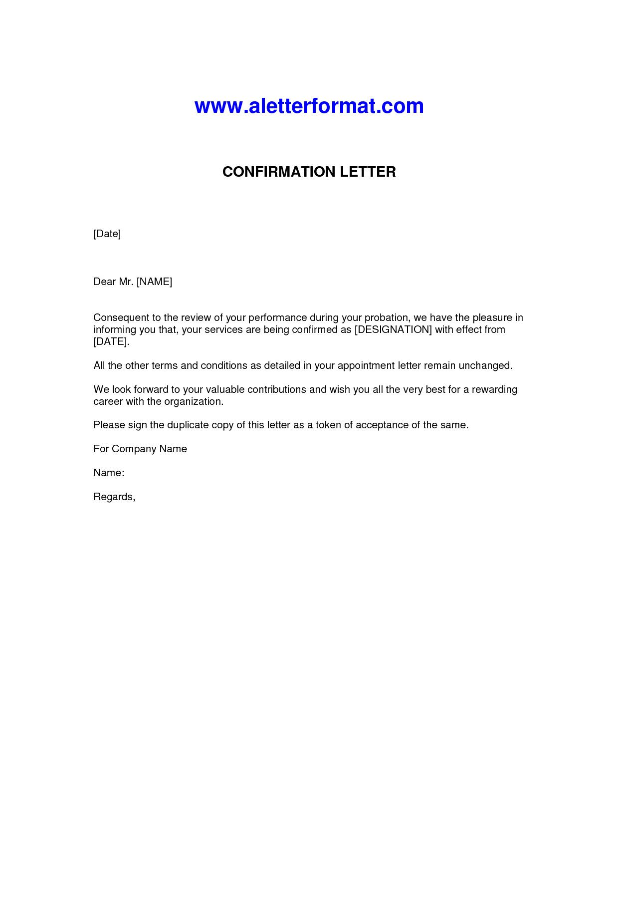 Employment Confirmation Letter Template Letter Confirmation Employment Confirmation Letter Lettering Letter Of Employment