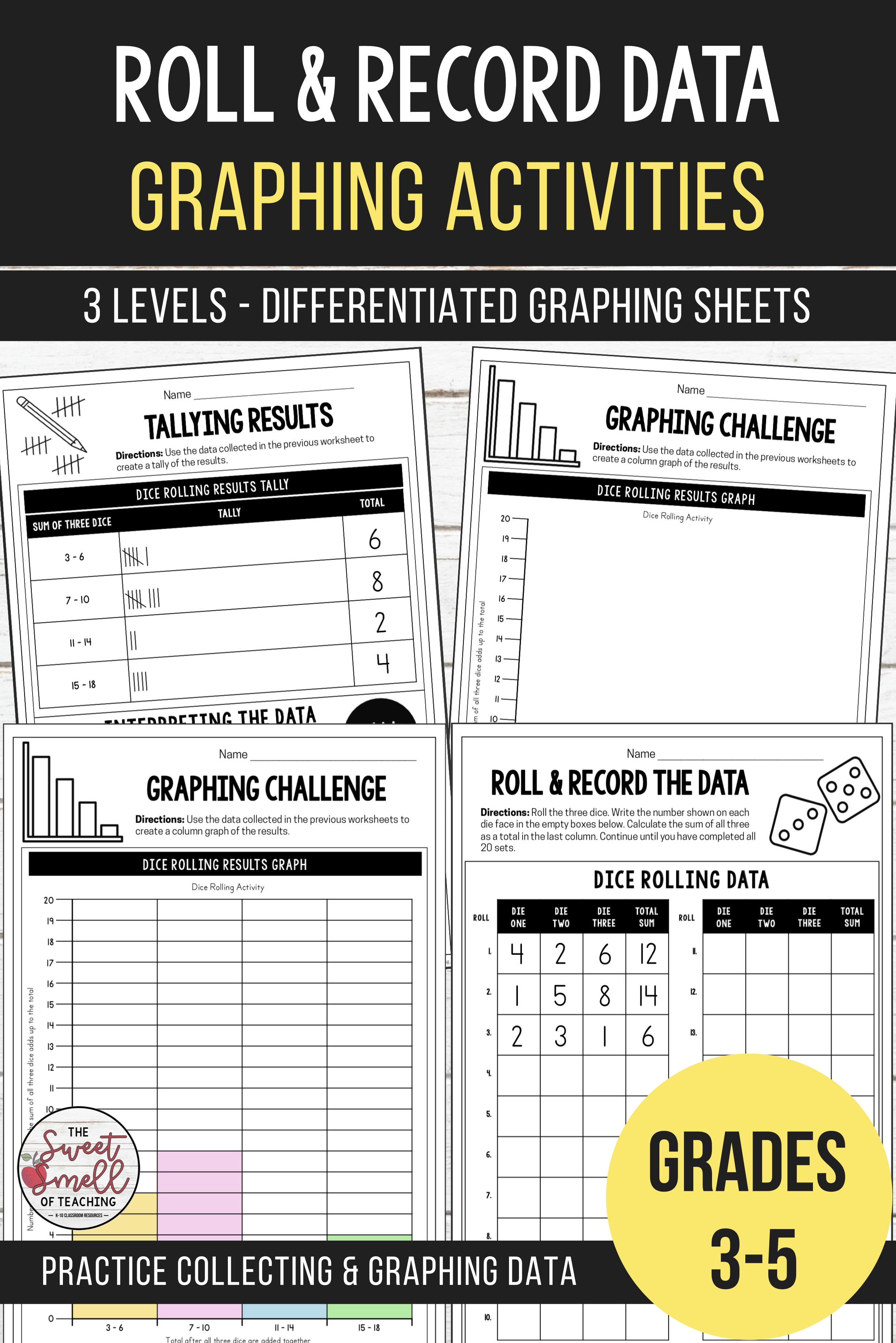 Roll Record Data Differentiated Graphing Activities Free Math Worksheets Free Math Graphing Activities [ 3672 x 2450 Pixel ]