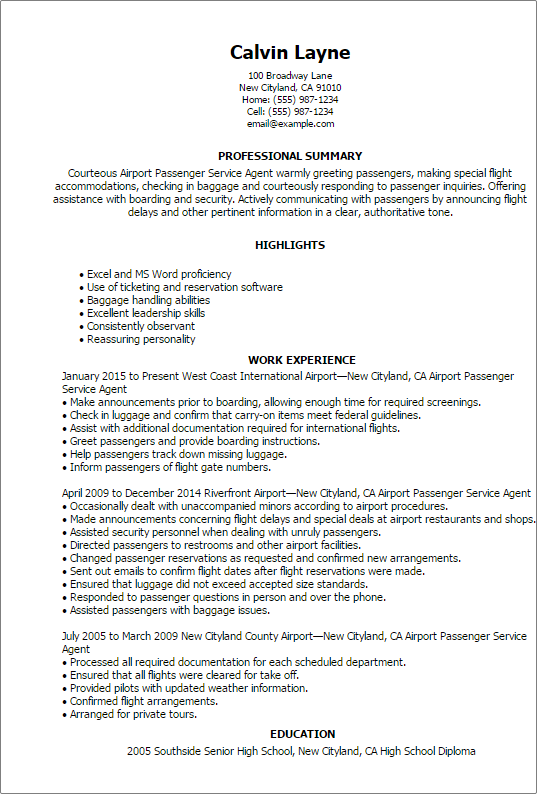Airport Passenger Service Agent Resume Templates