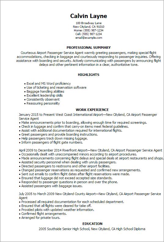 Airport Passenger Service Agent Resume Templates Customer Service Resumes Myperfectresume Customer Service Resume Guest Service Agent Resume
