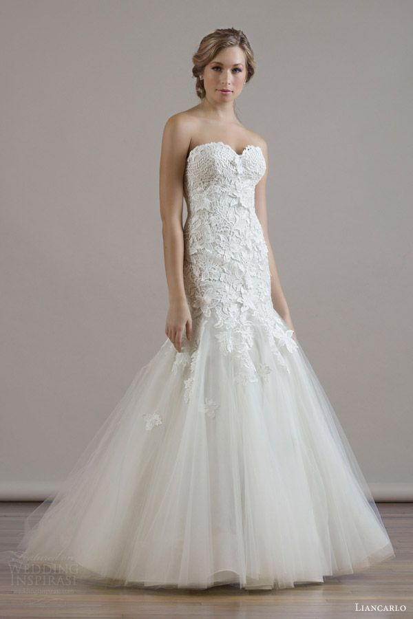 Cute LIANCARLO Bridal Fall wedding dress style guipure lace on illusion tulle drop waist